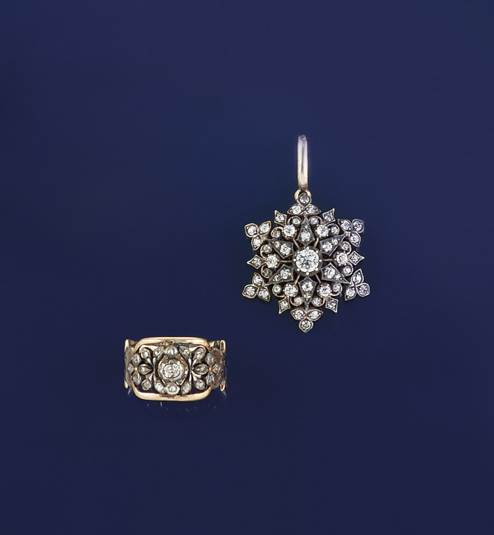 A 19th century ring and brooch