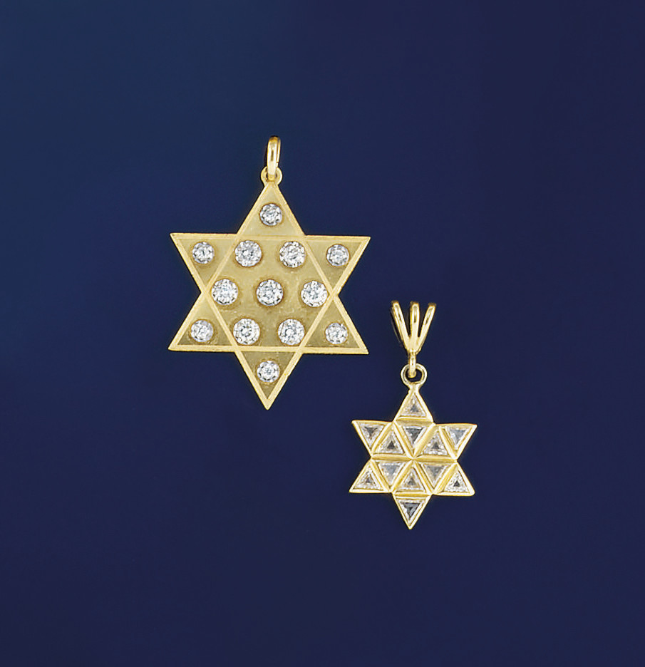 Two diamond star pendants