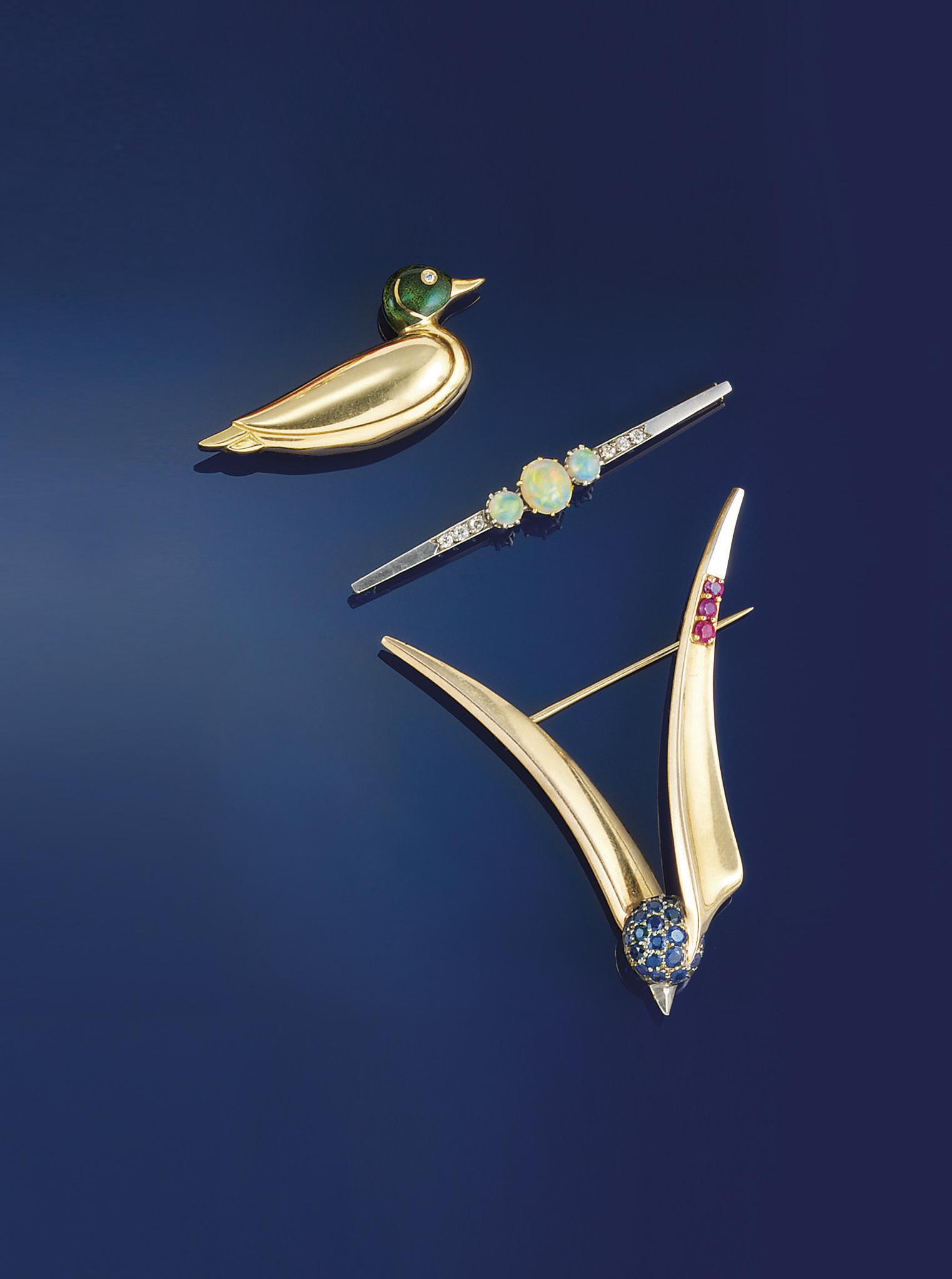 Three gem, diamond and enamel