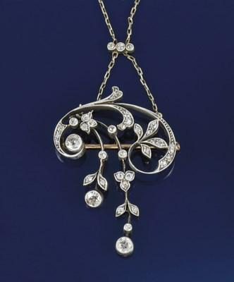 An Art Nouveau diamond pendant