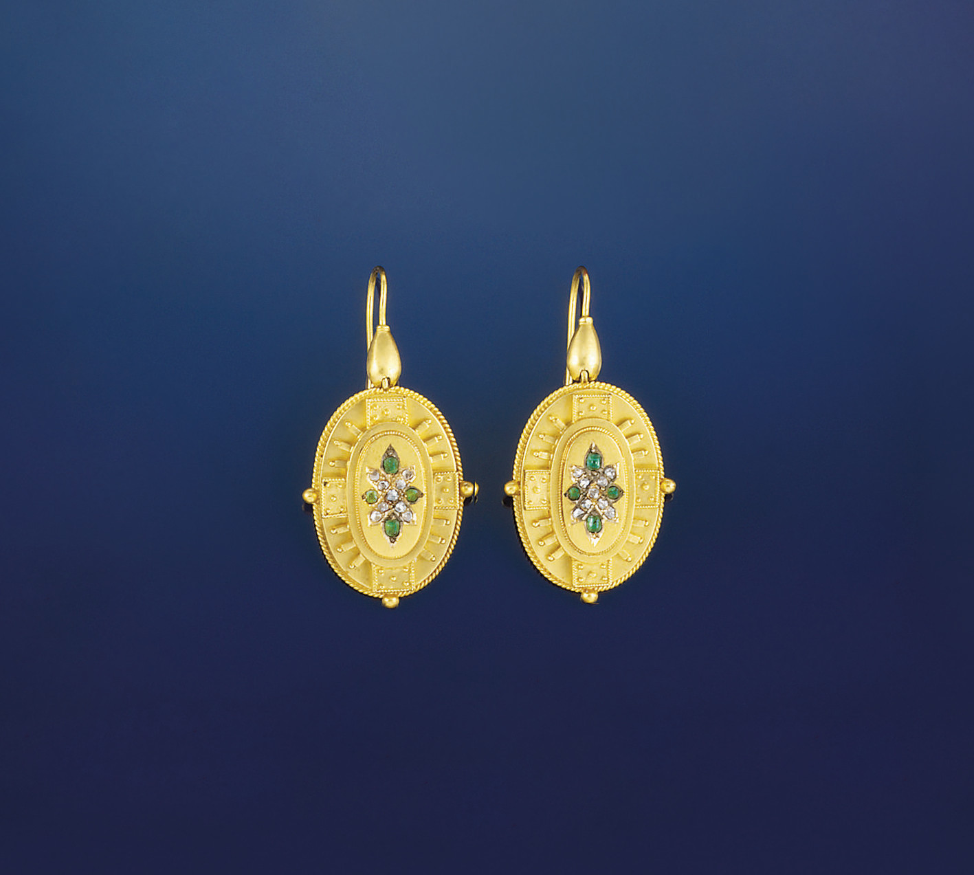 A pair of 19th century gold, e