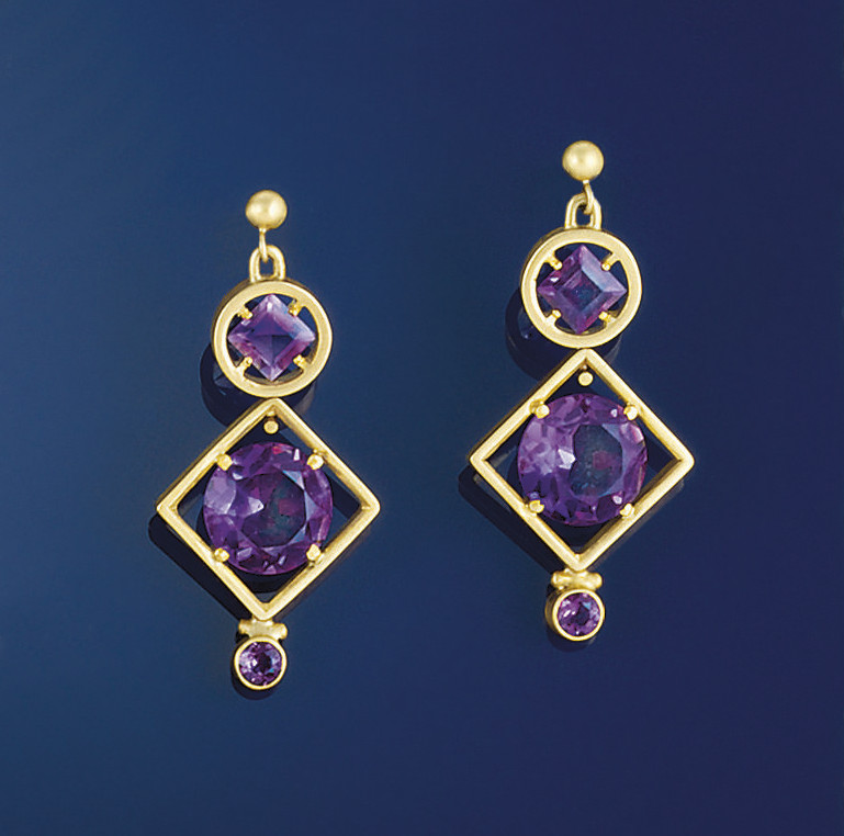 A pair of 18ct. gold and ameth