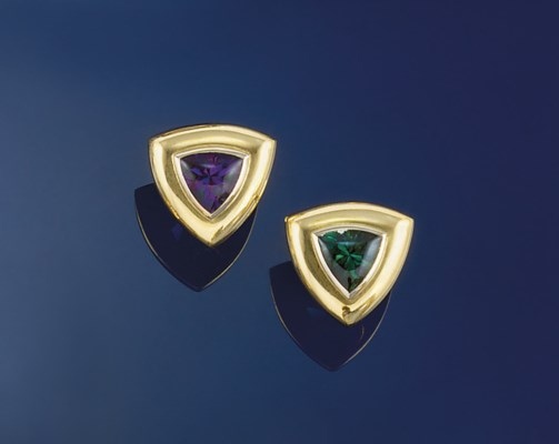 A pair of amethyst and green t