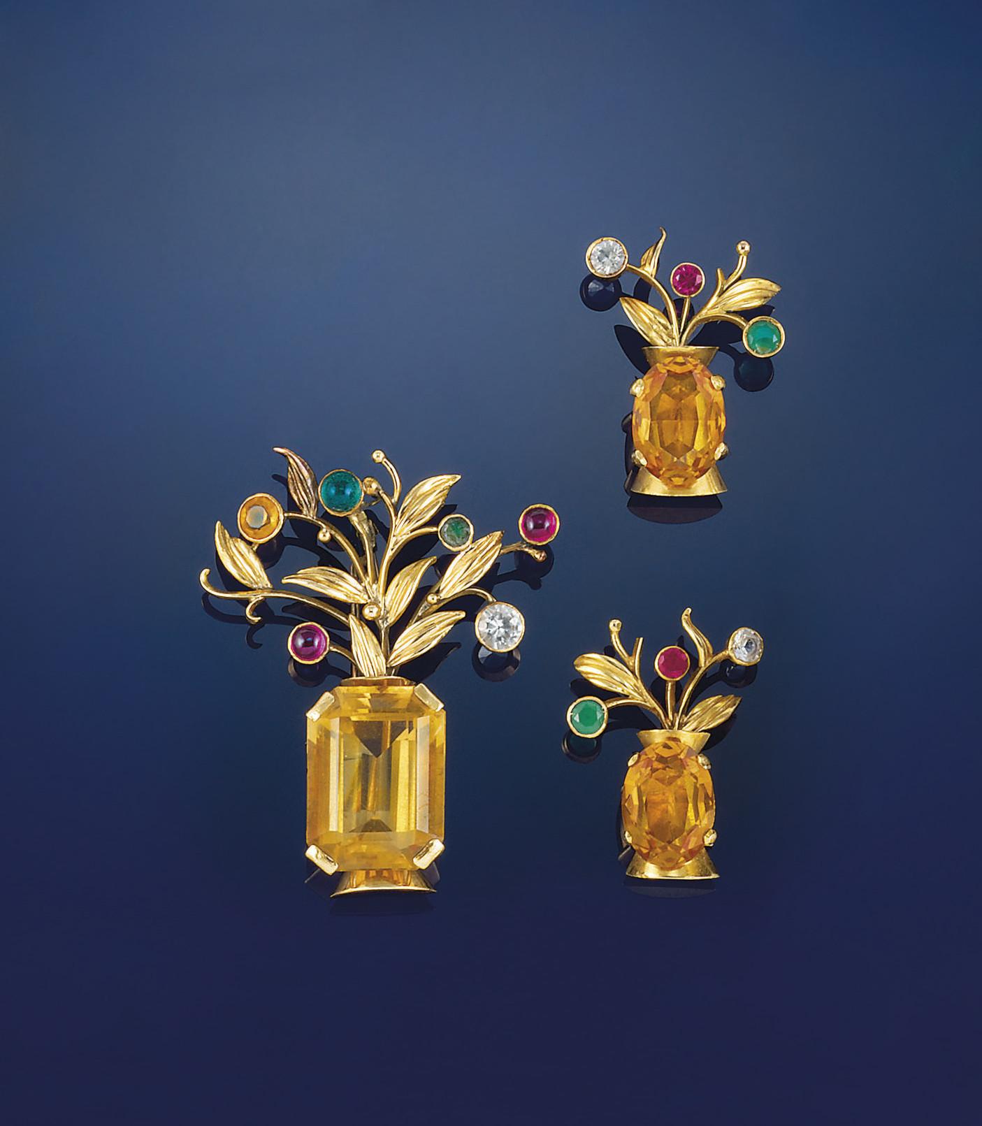 A citrine and gem-set brooch a