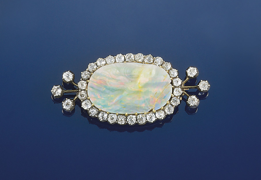 A Victorian opal cameo and dia