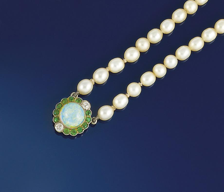 An Edwardian opal, demantoid g
