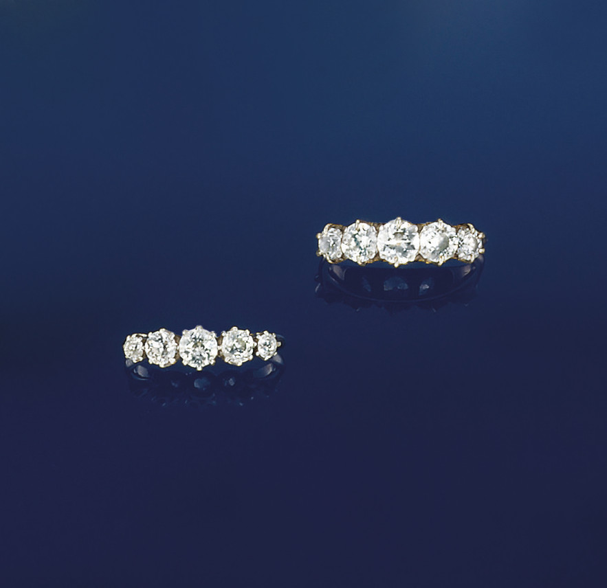 Two diamond five stone rings