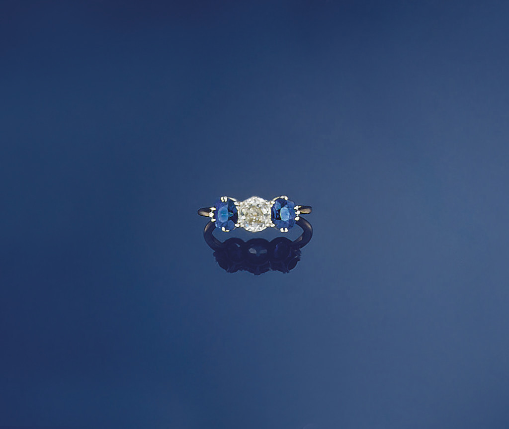 A diamond and sapphire three s