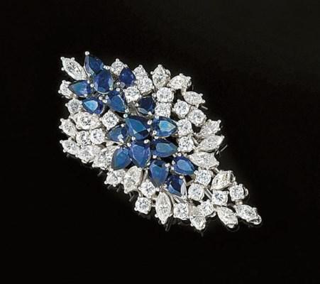 A sapphire and diamond brooch