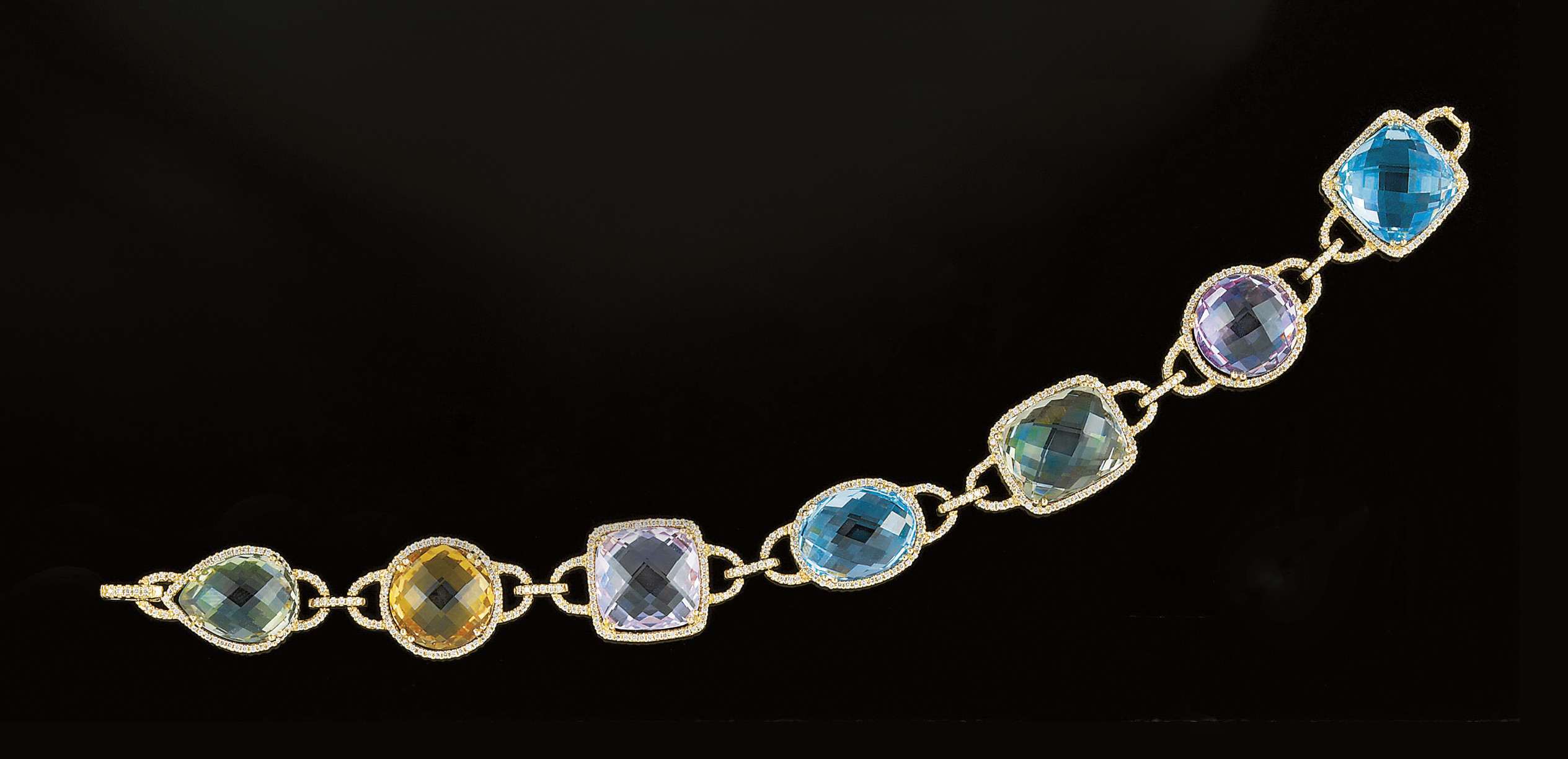 A gem and diamond bracelet