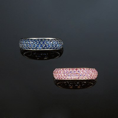 Two gem eternity rings