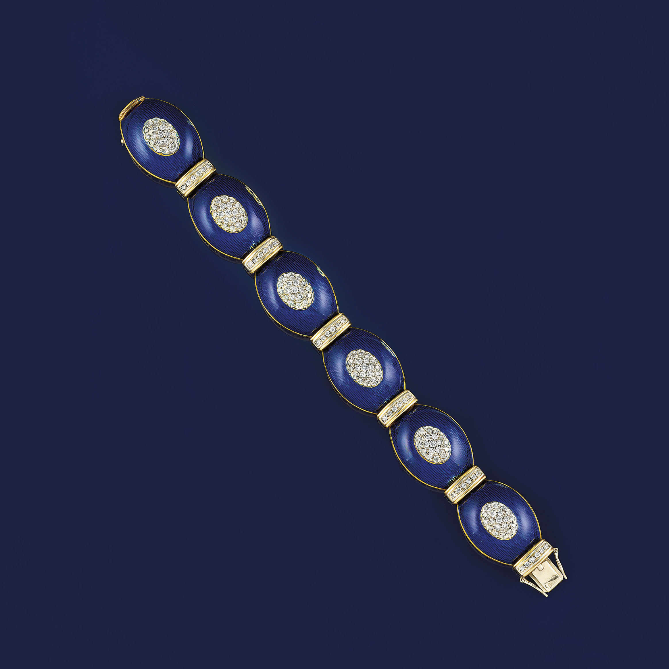 A diamond and enamel bracelet