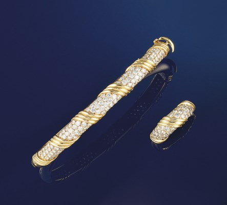 A diamond bangle and ring, by