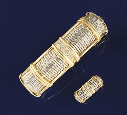 A diamond set bi-metallic bang