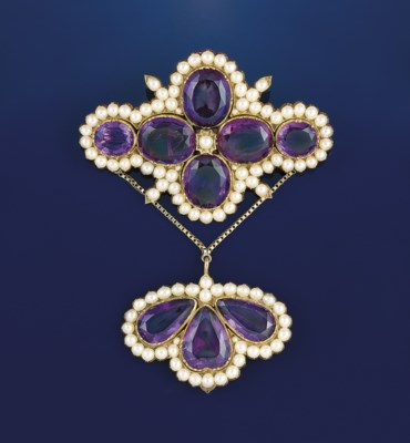 A group of amethyst jewellery