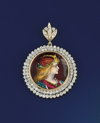 A diamond and limoges enamel p