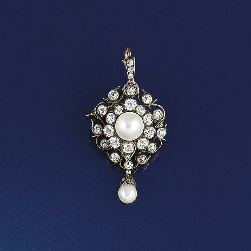 A Victorian diamond and pearl