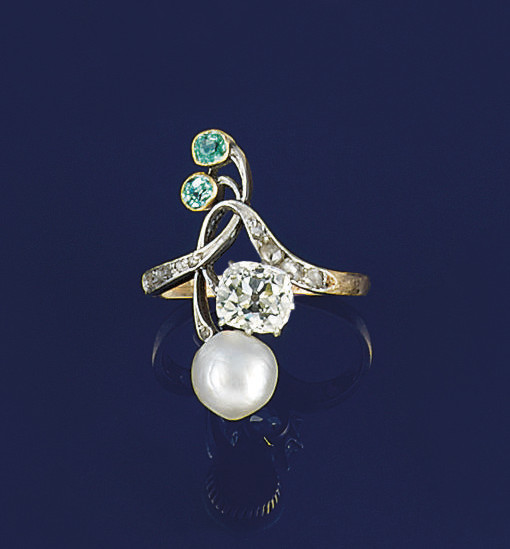 An Art Nouveau, diamond, pearl