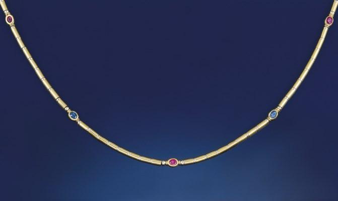 A gem set necklace