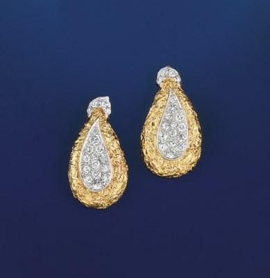 A pair of diamond pendant drop