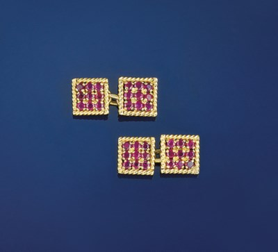 A pair of ruby cufflinks