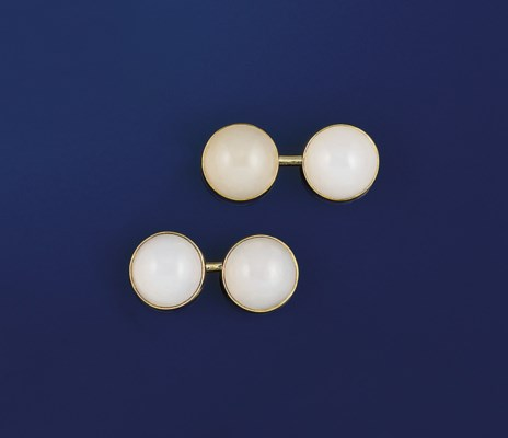 A pair of Chalcedony cufflinks