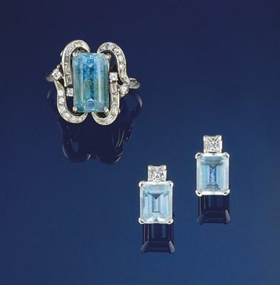 A aquamarine and diamond ring