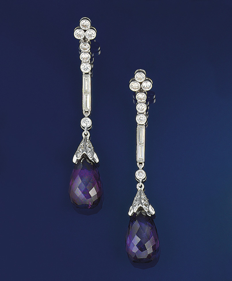 A pair of amethyst, diamond ea