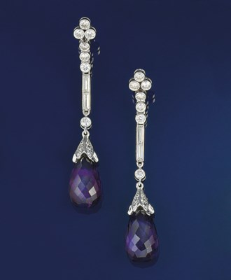 A pair of amethyst, diamond ea