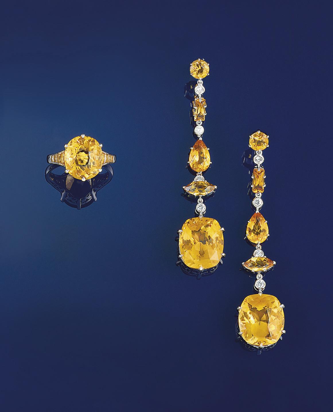 A pair of citrine and diamond