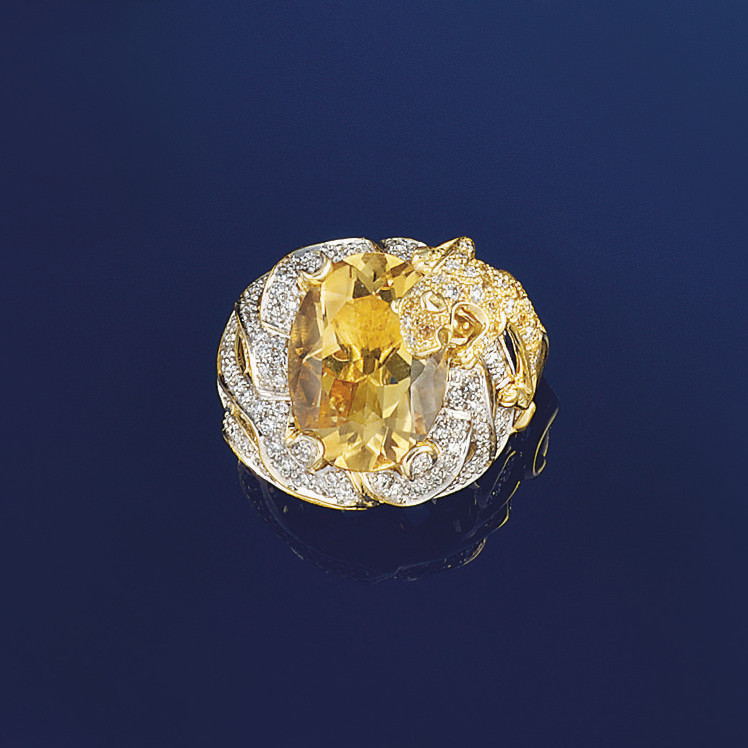 A citrine and diamond dress ri