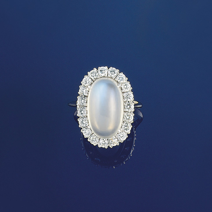 A moonstone and diamond cluste