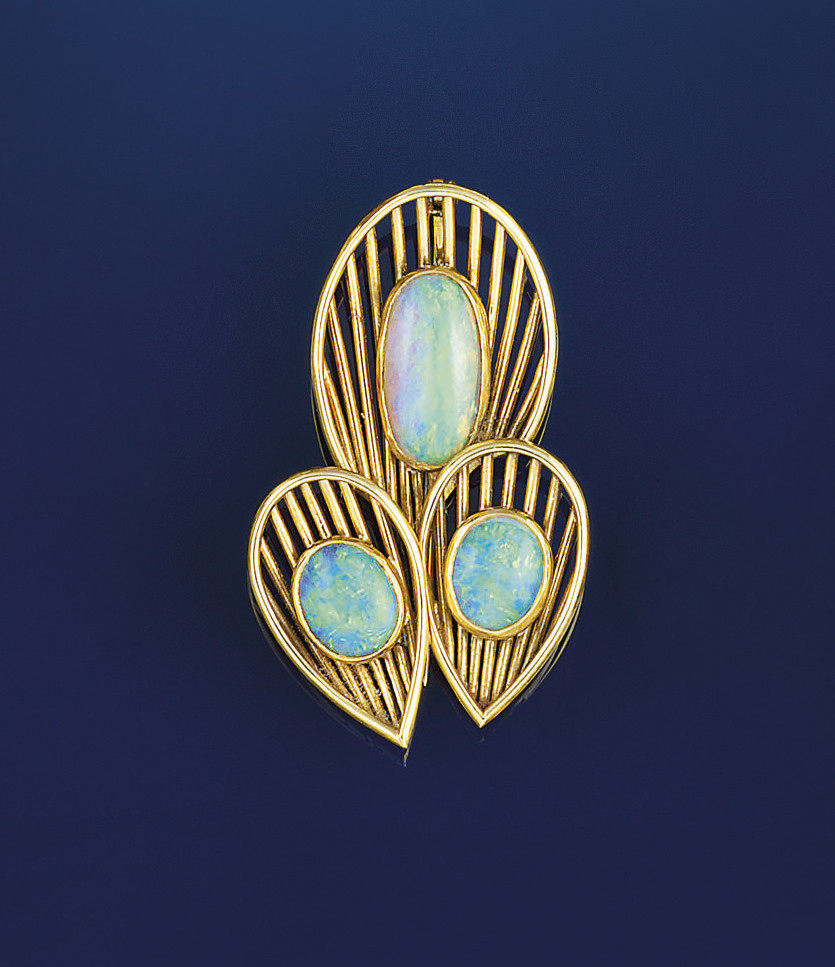 An opal brooch