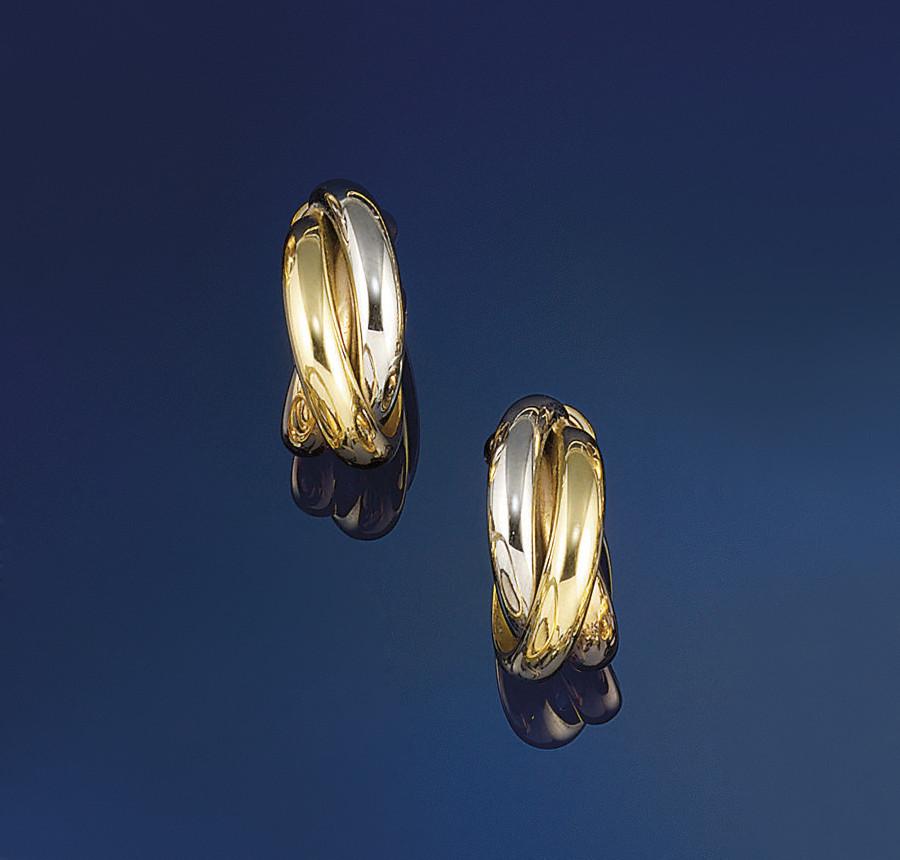 A pair of 18ct. three colour g