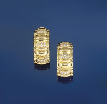A pair of diamond hoop earclip