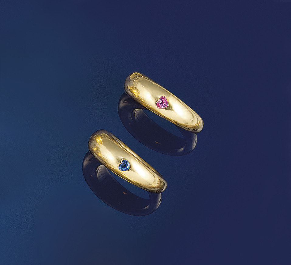 A pair of sapphire rings, by C