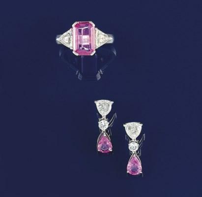 A pink sapphire and diamond ri