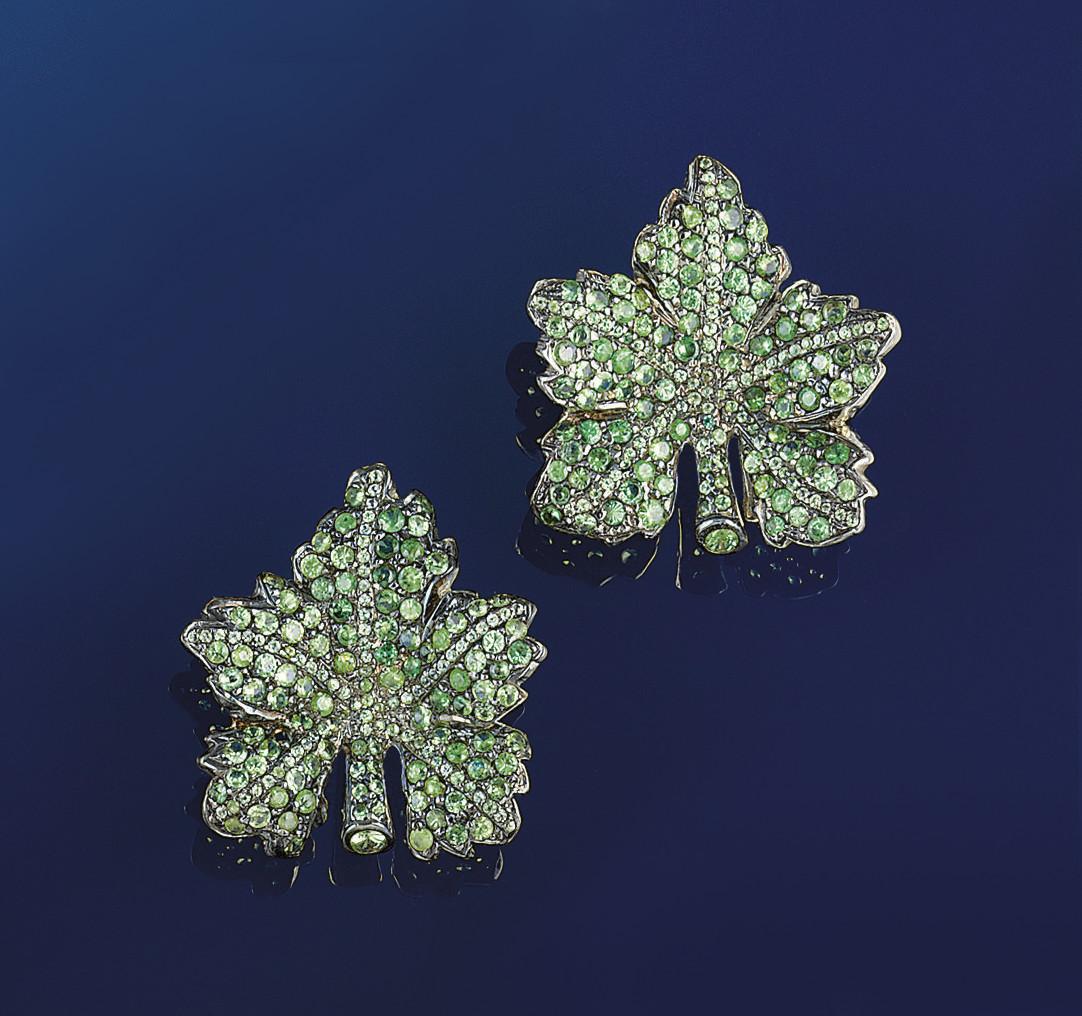 A pair of tsavorite garnet earclips, by Molinari