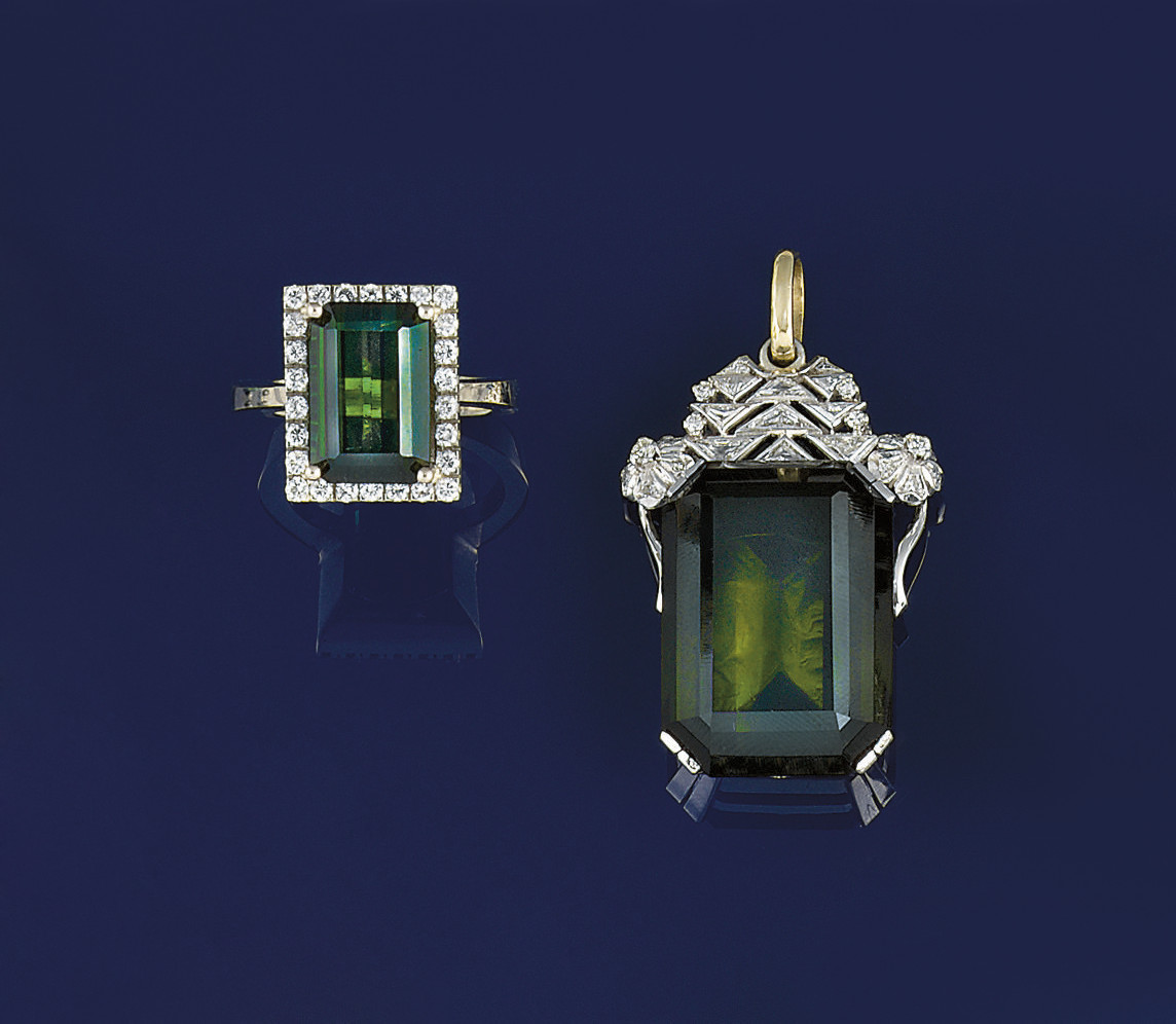A green tourmaline and diamond