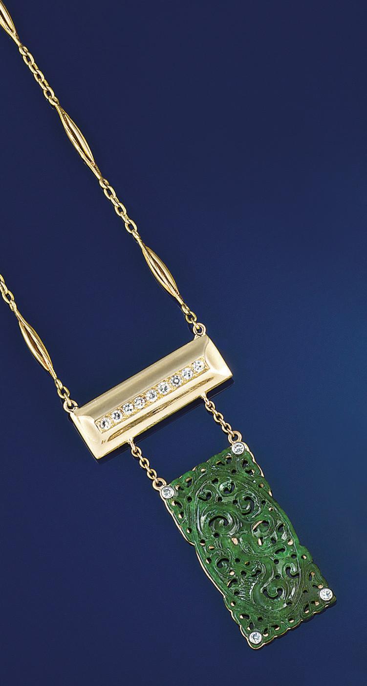 A jade and diamond pendant nec