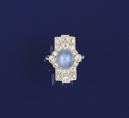 An Art Deco star sapphire and