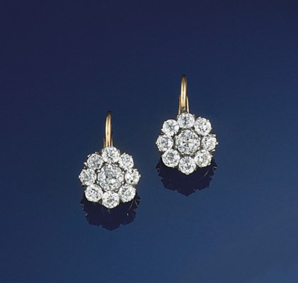 A pair of diamond cluster earp
