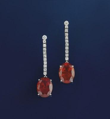 A pair of spessartine garnet a