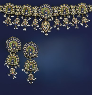 An Indian gold, enamel and cul