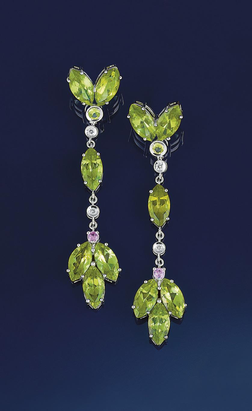 A pair of peridot, pink sapphi