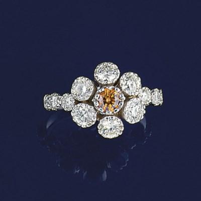 A coloured diamond and diamond