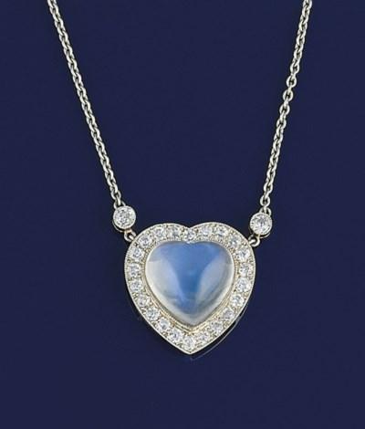 A moonstone and diamond pendan