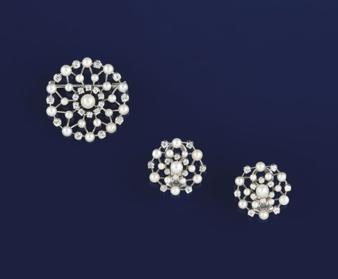 A pearl and diamond brooch and
