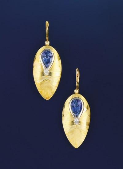 A pair of 18ct. gold, tanzanit