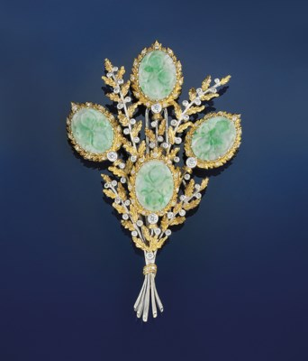 A jadeite and diamond brooch,